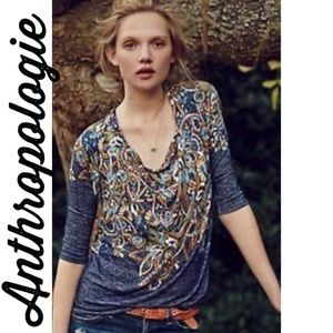 Anthropologie Postmark Jacaranda cowl neck top XS